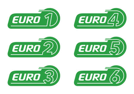 EURO 1, euro 2, 3, 4, 5 and 6. European emission standards stickers set - - acceptable limits for exhaust emissions of new vehicles sold in the European Union and EEA member states