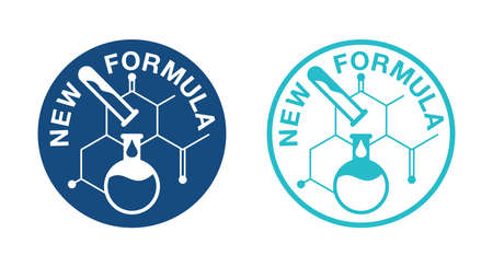 New Formula flat blue badge in circular form with molecular cell and test tubes - isolated vector sticker for packaging information 矢量图像