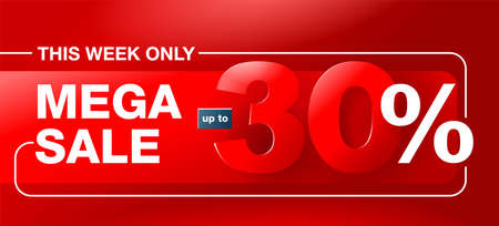Mega sale red catchy banner up to 30 percents off - creative vector flyer with 3D numbers - special sales and offers promo template 矢量图像