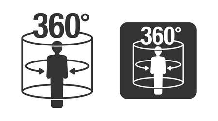 360 degrees flat black icon - 3D panorama, virtual tour, street view or VR technology emblem - isolated monochrome
