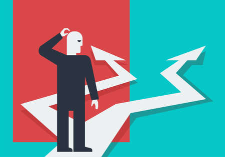 Thinking before important choice - crossroads and character in abstract art style - correct decision choosing. vector illustration for business concept or political voting