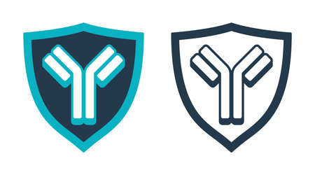 Antibody Y-shaped immunoglobulin. Emblem in shield shape - protein that used by the immune system to neutralize pathogens such as pathogenic bacteria and viruses - isolated stamp 矢量图像