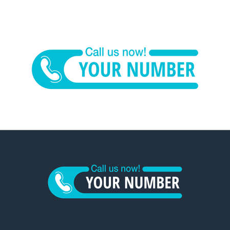 Call us Now blue flat button or address block - template for phone number in website header - conspicuous sticker with phone headset pictogram