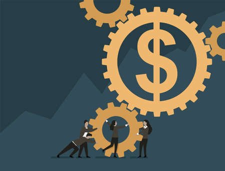 Economics and financial management concept - people team work group holds and rises big money symbol dollar - isolated vector illustration 矢量图像