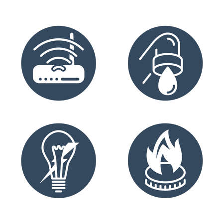 Technical building system flat monochrome icons - electricity, gasification, water supply and internet router - vector signs for site architectural plan infographics 矢量图像