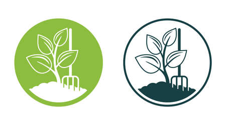 Organic fertilizer emblem with with ground and plant sprout - farming agriculture useful component - naturally occurring organic animal wastes - isolated vector icon 矢量图像