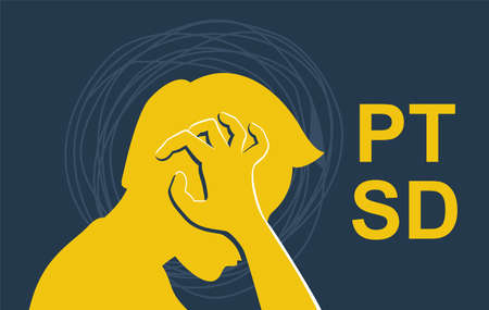 Post-traumatic stress disorder - PTSD mental disorder after a person is exposed to a traumatic event. Sad person with confusing thoughts. Vector conceptual illustration