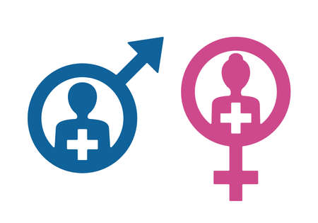 Andrology and Gynecology icons - venus male and mars female signs 矢量图像
