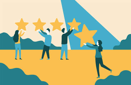 5 stars - People holding stars and collecting them into positive feedback - best satisfaction level and critic concept - five stars rating flat style vector concept. Vector illustration