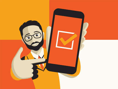 Happy cartoon young smiling man with glasses holding phone with check mark on a screen