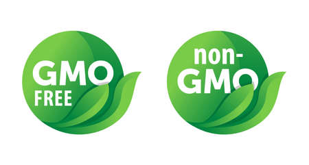 GMO free round green eco-friendly label with leaf and text, for genetically unmodified products 矢量图像