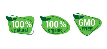 100 natural, 100 organic and GMO free badges set - badge for hundred percent healthy food, vegetarian nutrition in leaf shape 矢量图像
