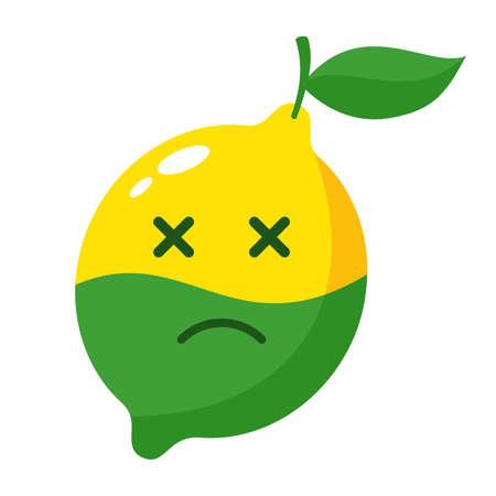 Citrus greening disease - Huanglongbing or HLB plant illness - dead lemon fetus with green bottom and bitter taste. Vector illustration.