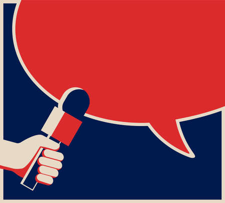 Hand holding microphone in vintage style - media interview with speech bubble dialog box. Vector illustration with copy space