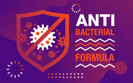 Antiviral antibacterial formula vector banner in abstract art decoration. stop shield, health protection, hand sanitizer label 矢量图像