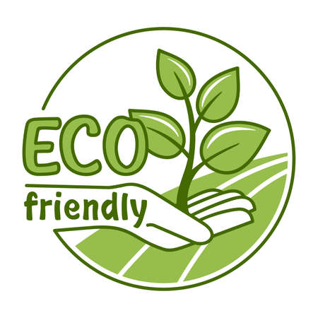 Eco friendly green stamp - sprout in hands. For healthy or natural food products, cosmetics, packaging marking or clear technology - isolated vector emblem
