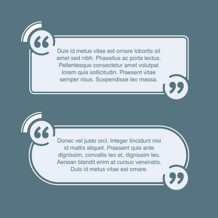 Quotes template in 2 variations - flat decorative rounded text block. Creative quotation marks and copy place with sample text, message box