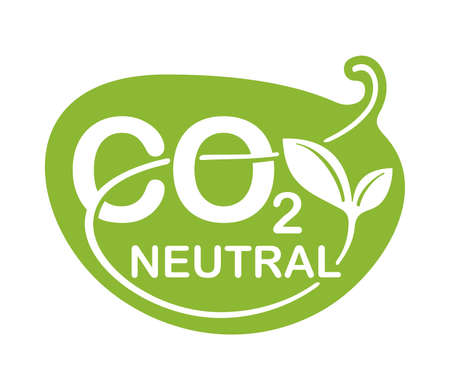CO2 neutral green floral sticker, net zero carbon footprint - carbon emissions free no air atmosphere pollution industrial production eco-friendly isolated sign in creative decoration 矢量图像