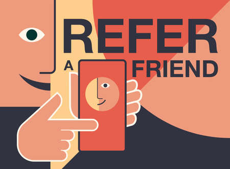 Refer a friend - referral program creative banner - abstract style simplified person holding phone and shows his friend - vector illustration