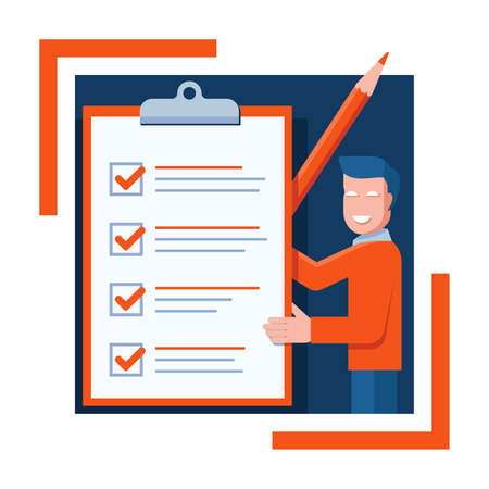 Checklist icon - absctact smiling busimessman holding big completed check list - test, questionnaire, planning and big pencil - isolated vector creative illustration. Vector illustration
