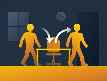Employee turnover in human resources banner - act of replacing a worker with a new one, that measured as percentage rate - two people icons with working staff and office chair