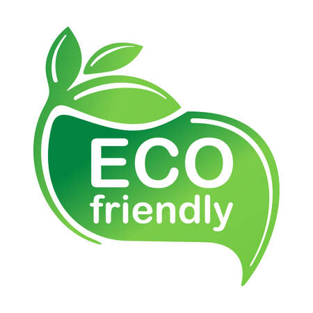 Eco friendly green emblem for healthy or natural food products, cosmetics, packaging marking or clear technology - isolated vector emblem