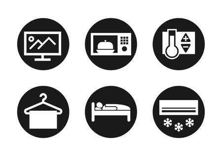 Hotel services and devices icons set. For scheme of appartment interior - TV, microwave, heating or cooling temperature controller, wardrobe, sleeping bed, air conditioner - flat vector pictograms