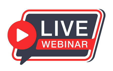 Live webinar flat rounded and dynamic button or banner element - catchy dialog message box with Play button and text - isolated template