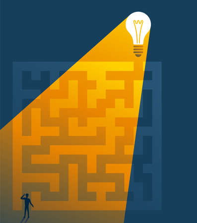 Business solution conceptual design illustration. Confused and highlighted man stay at maze and lamp as solution 矢量图像