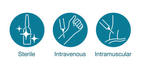 Medications for syringe injection properties. Sterile, intravenous, intramuscular icons set for packaging - isolated vector medical pictograms
