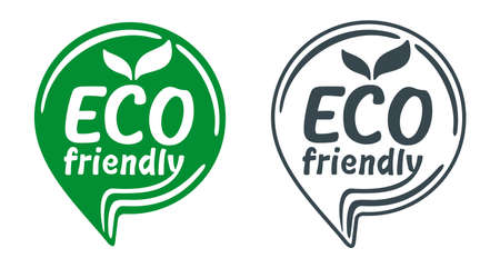 Eco friendly green stamp in pin form for healthy or natural food products, cosmetics, packaging marking or clear technology - isolated vector emblem