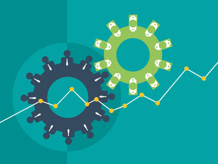 Making money concept. People working team and money bank notes in metaphor of gears mechanism - business success and profit growth. VEctor illustration