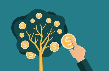 Money tree - plant with coin instead of apples. Hand catching fresh fetus, investment or profit. Vector illustration 矢量图像