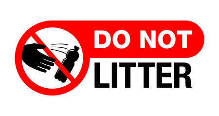 Do Not Litter sticker for environment protection and cleanliness - crossed person throwing empty bottle or can - isolated vector sticker for printing . Vector illustration 矢量图像