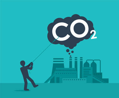 Carbon Capture Technology - net CO2 footprint development strategy. Vector illustration with metaphor - lasso smoke cloud catching