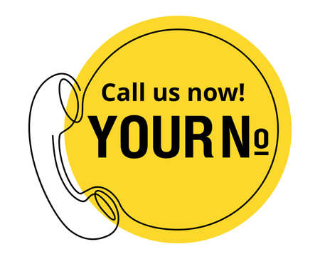 Call us Now button in yellow circle form - thin line template for phone number, in website header - conspicuous sticker with phone headset pictogram