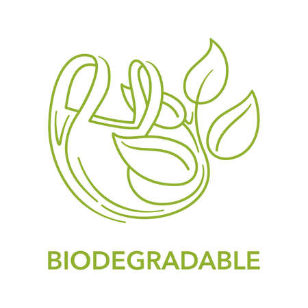Biodegradable logo - plastic polymer packet turns to plant branch in thin line - eco friendly compostable material production - environment protection emblem