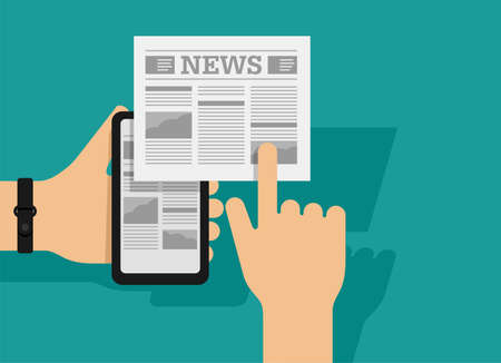 Mobile mass media online - conceptual illustration with smart phone in hands and newspaper - paper and digital variations - vector icon. Vector illustration