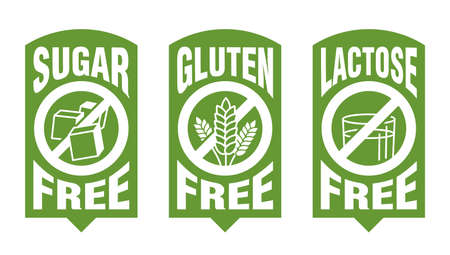Lactose free flat green sticker, Sugar free, Gluten free - set of food packaging decoration element for healthy natural organic nutrition