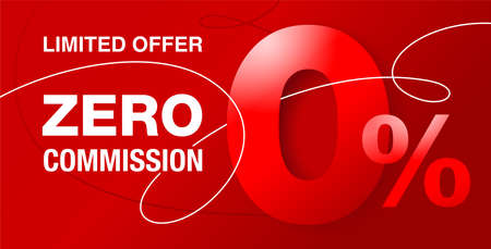 0 percents banner - zero commission special offer layout template with 3D zero digit and red background - vector promo limited offers flyer