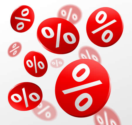 Big sale promo flyer. Percent badges, many red circles with percent sign on white background. Vector illustration