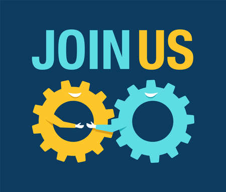 Join Us, hiring and recruting concept - two gears in single mechanism instead of handshaking people. Vector illustration