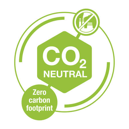 CO2 neutral. net zero carbon footprint - carbon emissions free no air atmosphere pollution industrial production eco-friendly complex emblem in creative decoration