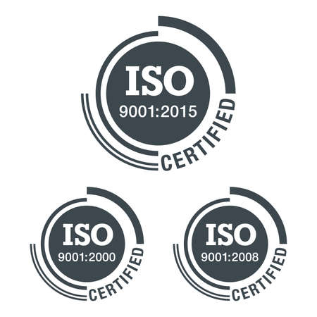 ISO 9001 conformity to standards icon 2000, 2008 and 2015 years of standardization - flat black pictogram with international quality management system guarantee emblem - isolated vector 矢量图像