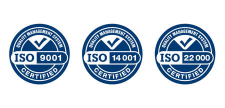 ISO 9001, 14001 and 22000 certified monochrome pictograms set - quality management system international standard emblems set - isolated vector signs