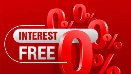 Interest free - zero commission banner or poster for zero percents credit company offers - isolated vector illustration with many zero and percent symbols