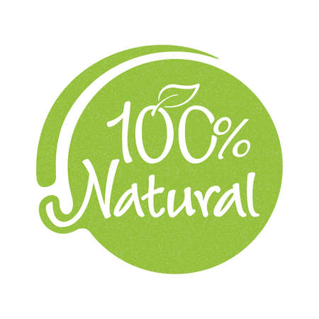 100 percents natural, organic and GMO free product icon with grungy texture - badge for hundred percent healthy food, vegetarian nutrition in leaf shape - vector sticker 矢量图像