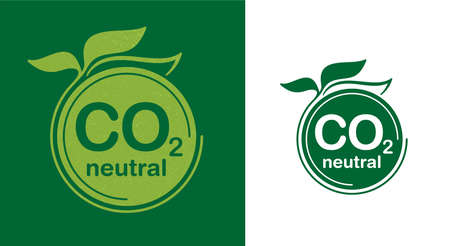 CO2 neutral green floral flat sticker, net zero carbon dioxyde footprint - carbon emissions free no air atmosphere pollution industrial production eco-friendly isolated sign in creative decoration