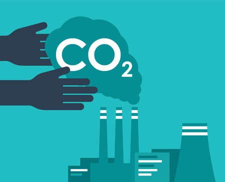 Carbon Capture Technology research - net CO2 footprint neutralize development strategy. Vector illustration with metaphor - hands catching harmful cloud Ilustração Vetorial