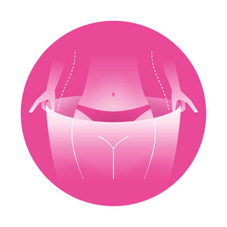 Weight Loss pink icon - Before and After losing weight - skinny woman thighs putting big plus-size pants which she wore previously - conceptual vector emblem
